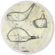 1926 Golf Club Patent Drawing Round Beach Towel