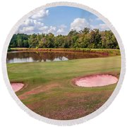 Golf Course Beautiful Landscape On Sunny Day Round Beach Towel
