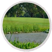 Golf Course Lay Up Round Beach Towel by Frozen in Time Fine Art Photography