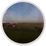 Golf Course With A Lighthouse Round Beach Towel