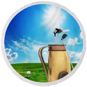 Golf Equipment And Ball On Golf Course Round Beach Towel