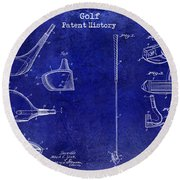 Golf Patent History Drawing Blue Round Beach Towel