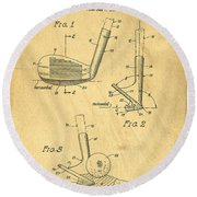 Golf Sand Wedge Patent On Aged Paper Round Beach Towel