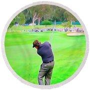 Golf Swing Drive Round Beach Towel