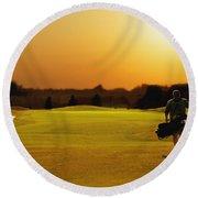 Golfer Walking On A Golf Course Round Beach Towel
