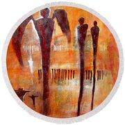 Golgotha Petroglyph Round Beach Towel