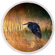 Goliath Heron With Sunrise Over Misty River Round Beach Towel