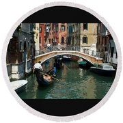 Gondola Ride Round Beach Towel