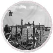 Gondola Rides 2 Round Beach Towel