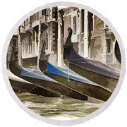 Gondolas-in-waiting   Venice Round Beach Towel