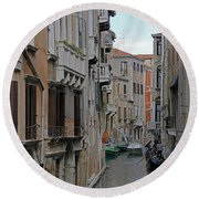Gondolas On Backstreet Canal Round Beach Towel