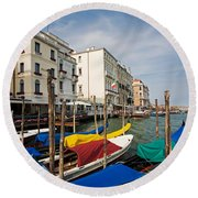 Gondolas On The Grand Canal Round Beach Towel