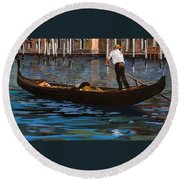 Gondoliere Sul Canale Round Beach Towel