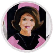 Good And Plenty Jackie O  Round Beach Towel by Candace Lovely