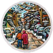 Good Day In January For Winter Stroll Snowy Trees And Cars Verdun Street Scene Painting Montreal Art Round Beach Towel