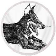 Good Dog Round Beach Towel by Michael Volpicelli