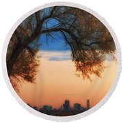 Good Morning Denver Round Beach Towel by Darren  White