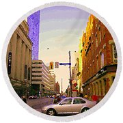 Good Morning Drive By Yonge St Starbucks Toronto City Scape Paintings Canadian Urban Art C Spandau  Round Beach Towel