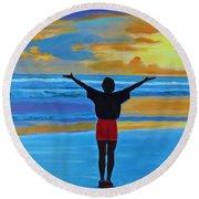Good Morning Morning Round Beach Towel by Deborah Boyd
