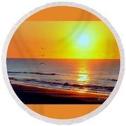 Good Morning Sunshine Round Beach Towel