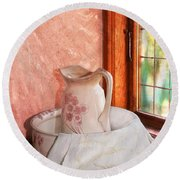 Good Morning- Vintage Pitcher And Wash Bowl  Round Beach Towel
