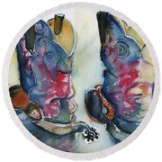 Cowboy Boots In Watercolor Good Ride Round Beach Towel