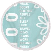 Good Things Blue Round Beach Towel