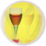 Good Wine Valentine Card Round Beach Towel