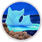 Goodbye Greenland Round Beach Towel