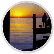 Goodnight Sun Round Beach Towel by Karen Wiles