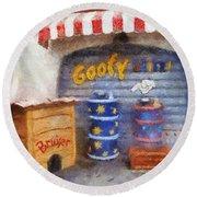 Goofy Water Disneyland Toontown Photo Art 02 Round Beach Towel