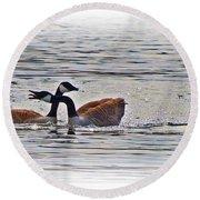Goose Crossing Round Beach Towel