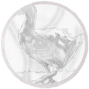 Goose Drawing Round Beach Towel