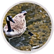 Goose In The Water Round Beach Towel