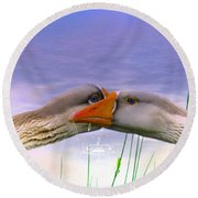 Goose Kiss - Featured In Comfortable Art - Nature Wildlife - Wildlife Groups Round Beach Towel