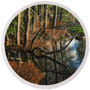 Goose Lake Twilight Round Beach Towel