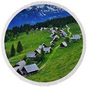 Goreljek Shepherding Village In Alpine Round Beach Towel