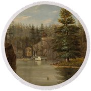 Gorge Of The St Croix Round Beach Towel by Henry Lewis