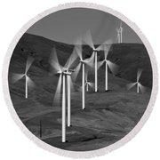 Gorge Windmills B W Round Beach Towel