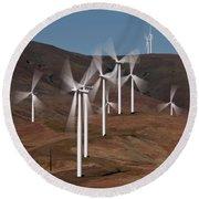 Gorge Windmills Round Beach Towel