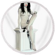 Young Woman Naked Round Beach Towel