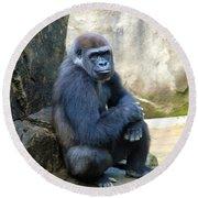 Gorilla Smile Round Beach Towel