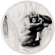 Gorilla Unamused Round Beach Towel