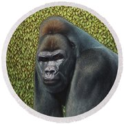Gorilla With A Hedge Round Beach Towel by James W Johnson