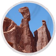 Gossips At Arches National Park Round Beach Towel