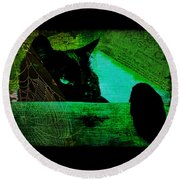 Gothic Black Cat Round Beach Towel