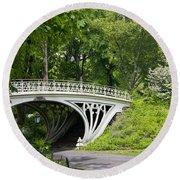Gothic Bridge In Central Park Round Beach Towel