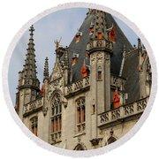 Gothic Bruges Round Beach Towel