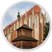 Gothic Church Of St. Catherine In Krakow Round Beach Towel