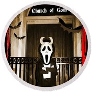 Gothic Church Sentinel Round Beach Towel